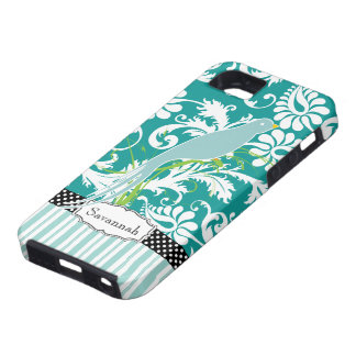 Personalised Teal Damask Love Bird iPhone 5 Cases