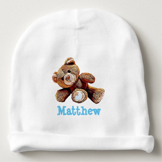 Personalised Teddy Bear Blue Baby Boy Cap Baby