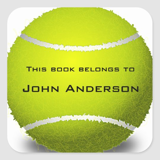 Personalised Tennis Ball Bookplate Sticker