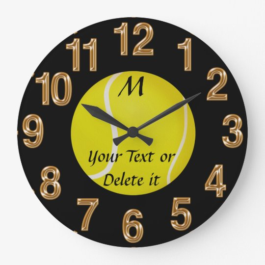 Personalised Tennis Clock MONOGRAM and YOUR TEXT