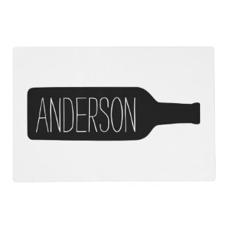 Personalised Text with Bottle Illustration Laminated Placemat