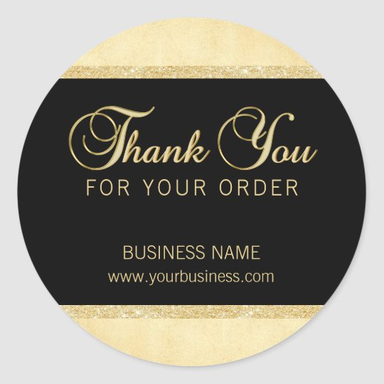 Personalised Thank You For Your Order Gold Black