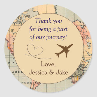 Personalised Thank You Stickers- Wedding Favours Classic Round Sticker