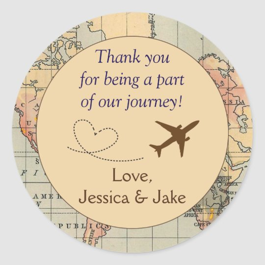 Personalised thank you stickers wedding favours classic round sticker