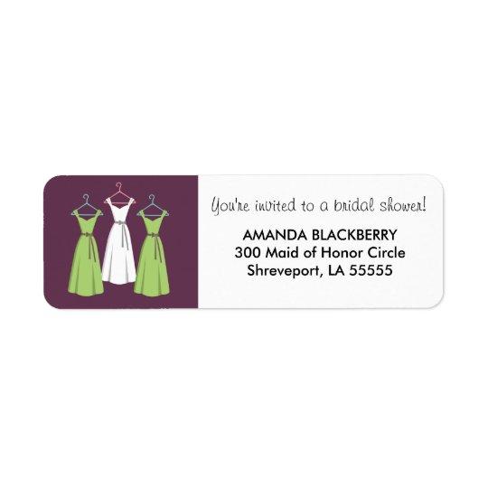 Personalised Three Dresses Bridal Shower Labels 2