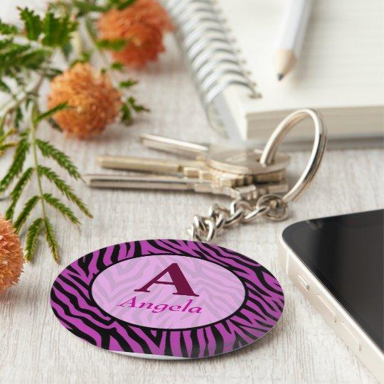 personalised tiger tijgerprint name basic round button key ring
