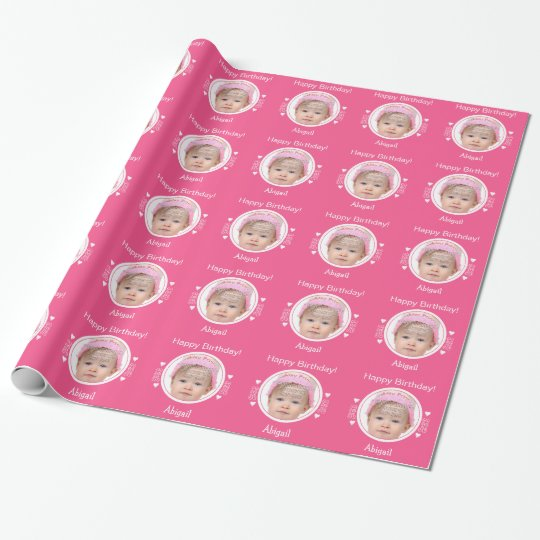 Personalised tiny hearts photo pink wrapping paper