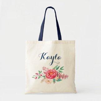 Personalised Tote Bag. Floral Tote Bag. Bridesmaid