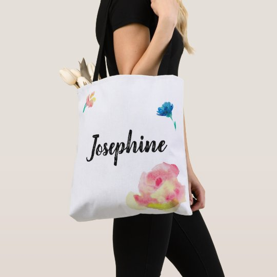 Personalised tote boho with watercolor flowers