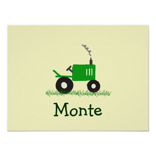 Personalised Tractor Wall Art: Green Tractor Poster