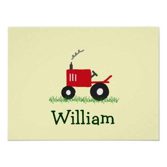 Personalised Tractor Wall Art: Red Tractor Poster
