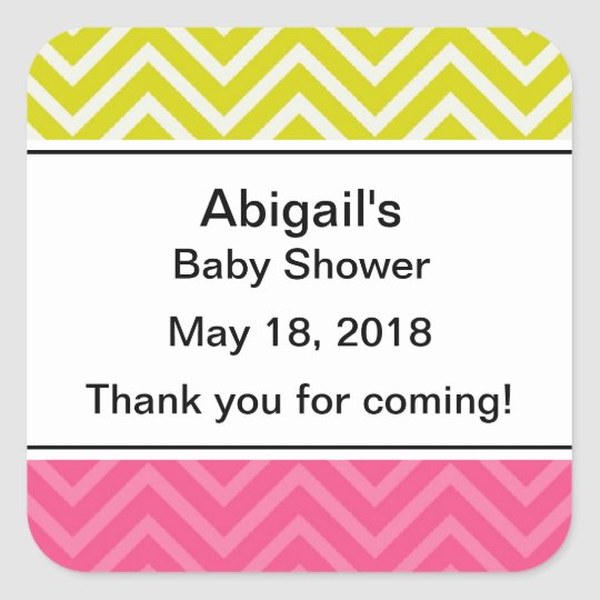 Personalised Trendy Chevron Baby Shower Stickers