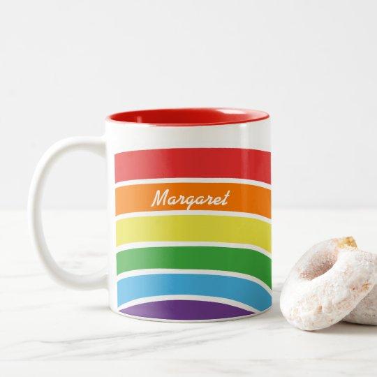 Personalised Trendy Rainbow Modern Pattern Girls Two-Tone Coffee