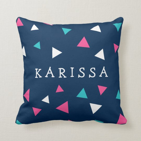 Personalised Triangle Confetti Throw Pillow