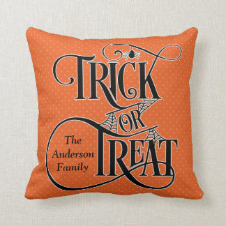 Personalised Trick or Treat Halloween - Any Colour Cushion
