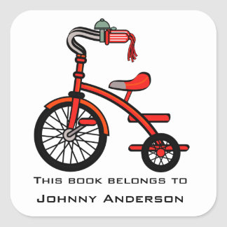 Personalised Tricycle Bookplate Sticker
