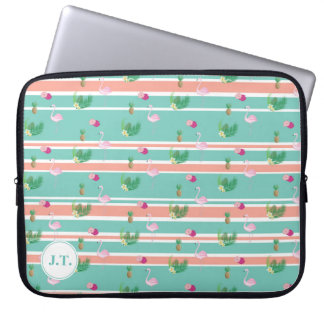 Personalised Tropical Flamingo Laptop Case