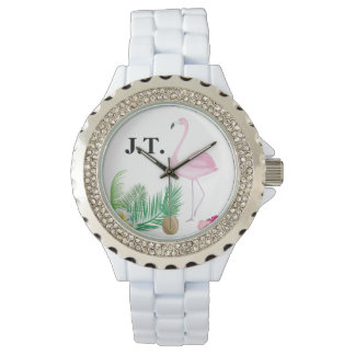 Personalised Tropical Flamingo Watch