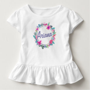 Personalised Tropical Floral Wreath   Ruffle Tee