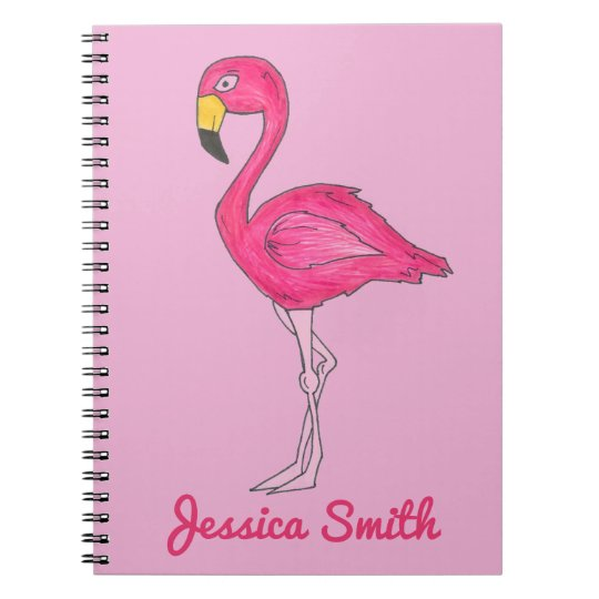 Personalised Tropical Pink Flamingo Bird Notebook
