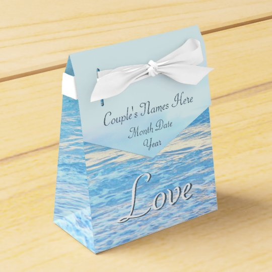 Personalised Turquoise Beach Wedding Favour Boxes