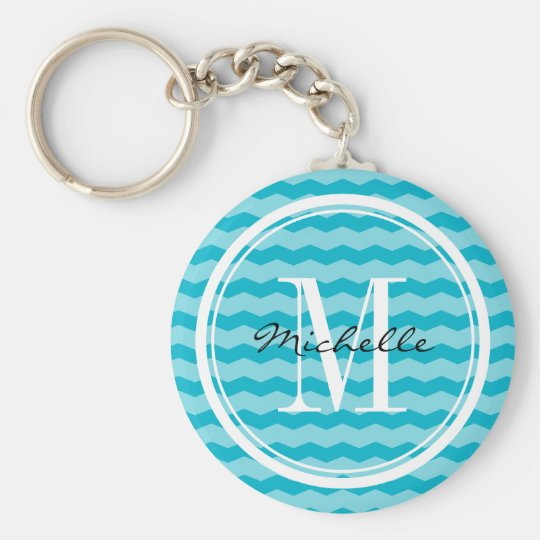 Personalised turquoise chevron pattern key chain
