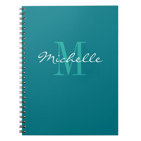 Personalised turquoise monogram spiral notebook