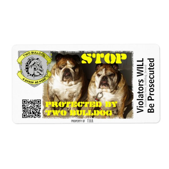 Personalised Two Bulldog Brand STOP Stickers
