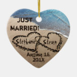 Personalised Two Hearts In The Sand Heart Ornament