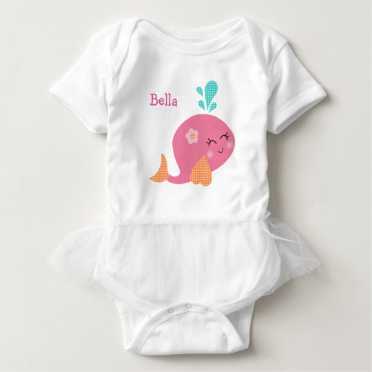 Personalised Under the Sea Pink Whale Baby Shirt