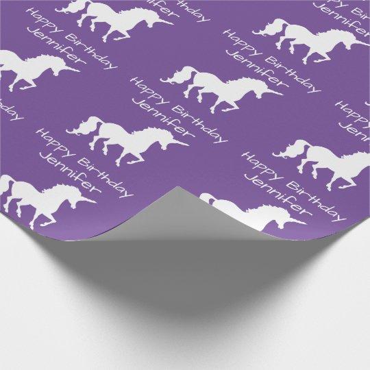 Personalised Unicorn Pattern Girls Birthday Purple Wrapping Paper