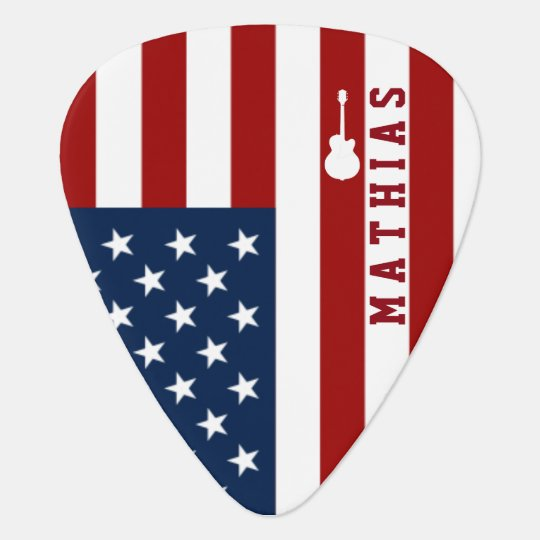personalised USA flag guitar music Guitar Pick