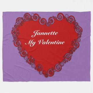 Personalised Valentine Heart Fleece Blanket
