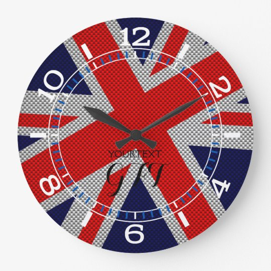 Personalised Vibrant Union Jack on Carbon Style Large