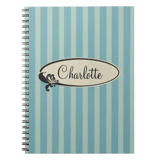 Personalised Vintage Blue Stripes Notebook