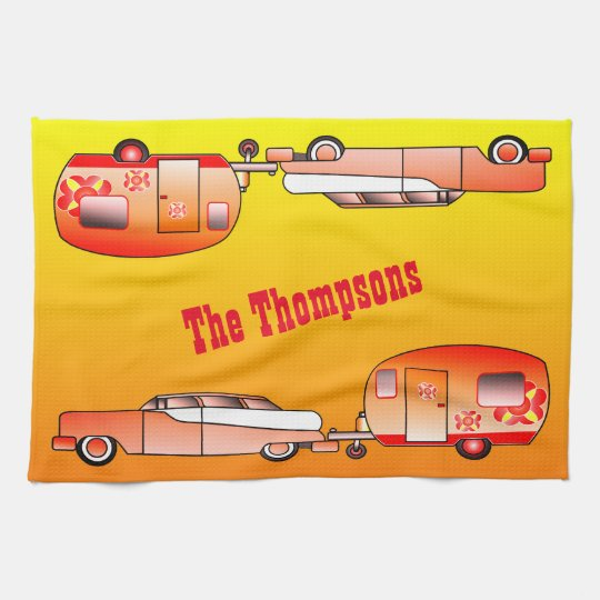 Personalised Vintage Car and Caravan Dish Towel