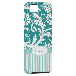 Personalised Vintage Damask change teal any colour Tough iPhone 5 Case