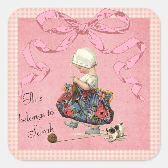 Personalised Vintage Fashion Girl Pink Ribbon Square Sticker
