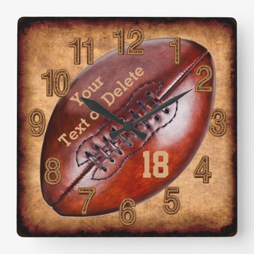 Football Design Wall Clock : Personalised vintage football decor name number wall