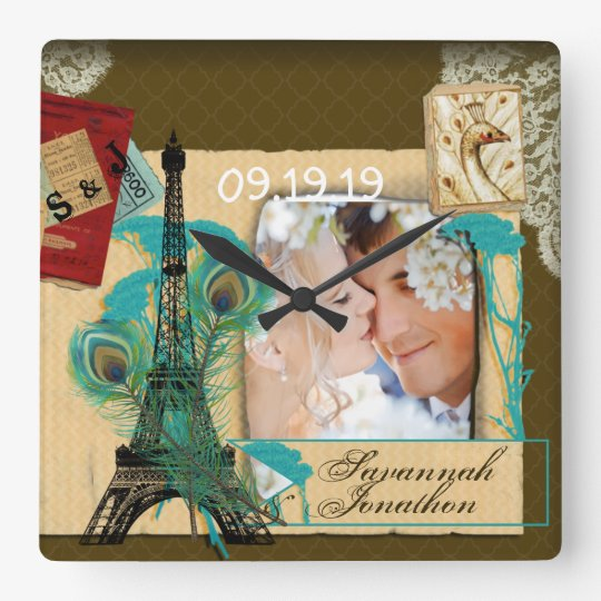 Personalised Vintage Photo Collage Square Wall Clock