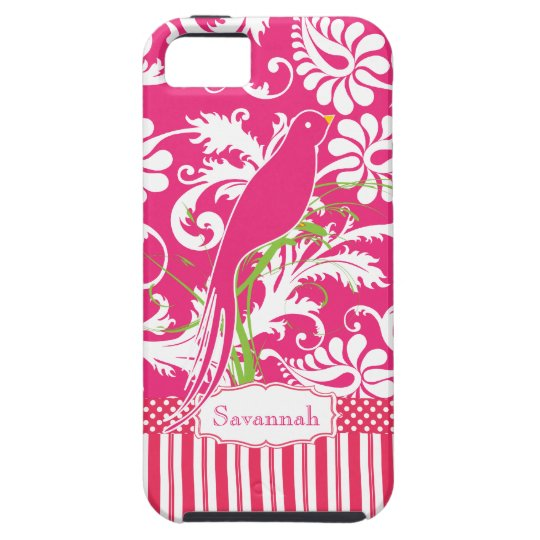 Personalised Vintage Pink Damask Love Bird iPhone 5 Cases