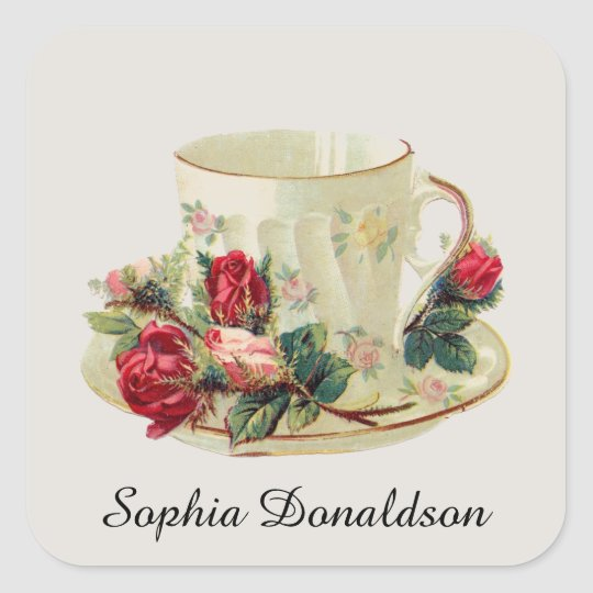 Personalised Vintage Teacup and Roses Sticker