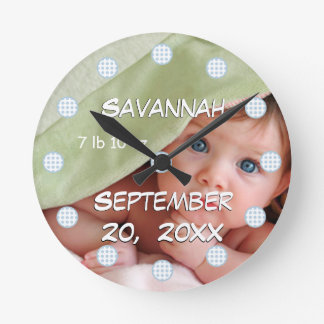 Personalised Wall Clock Baby's Name and Birth Date