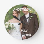 Personalised Wall Clock Wedding Couple's Photo