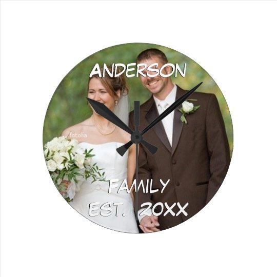 Personalised Wall Clock Wedding Couple's Photo