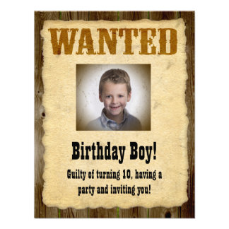 Personalised Wanted Poster, Birthday Bandit Invitations