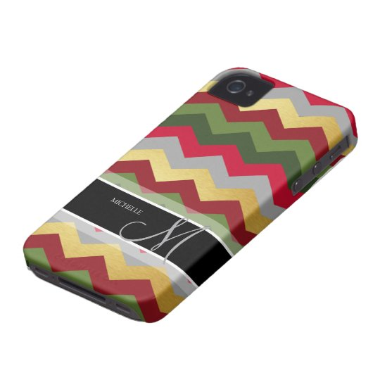 Personalised Warm Chevron Pattern with monogram iPhone 4 Covers