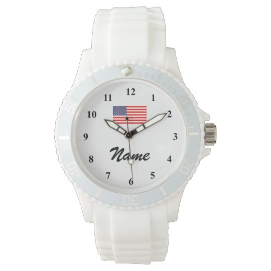 Personalised watch with name and American flag