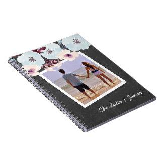 Personalised Watercolor Blue Flower Chalkboard Notebooks