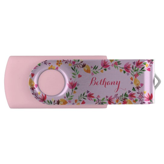 Personalised Watercolor Flowers and Hearts USB Flash Drive